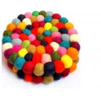 Wholesale high quality handmade lambskin wool felt ball wool sheepskin cushion from china suppliers