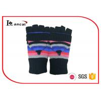 Wholesale Multi Stripe Girls Winter Gloves Black Rib Cuff Winter Fingerless Gloves from china suppliers