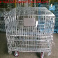 Wholesale Folding Wire Mesh Containers/ Stackable Storage Cage/ Metal Basket/Folding wire mesh container steel storage cage from china suppliers