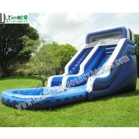 Wholesale Kids / Adults Commercial Grade Inflatable Water Slide With Pool 18 OZ PVC Tarpaulin from china suppliers