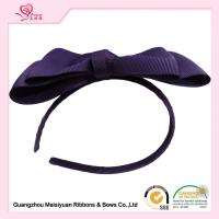 Wholesale Women Hair Band , Purple Huge Grosgrain Ribbon Bows With Metal Headband from china suppliers
