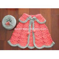 Wholesale Pink Handmade Crochet Dress , Sleeveless Striped Polo Collar Crochet Baby Shawl from china suppliers