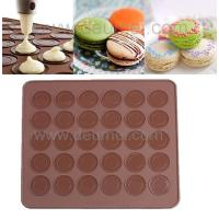 Wholesale 30-Capacity Round Shaped Non Stick Heat Resistant Reusable Macarons Silicone Baking Mat from china suppliers
