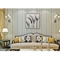 Wholesale Blue Modern Living Room Wallpaper , Interior Modern Striped Wallpaper Strippable from china suppliers