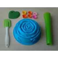 Wholesale Non-Stick 10pcs Silicone Baking Set With Rose Cake Mould , Silicon Spatula from china suppliers