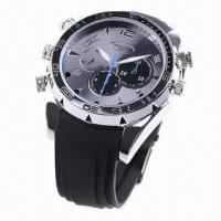 Wholesale 1,080P Water-resistant Metal Watch Camera with Silicone Belt and Night Vision Function from china suppliers
