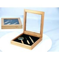 Wholesale Solid Maple square wood box with window and EVA from china suppliers