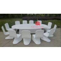 Quality 12 seater white S shape chair rattan table set for sale