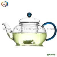 Wholesale 500ml borosilicate glass teapots with colorful handle from china suppliers