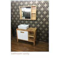 Wholesale 100cm Natural Wood Square Sinks Bathroom Vanities , Small Bathroom Vanity With Sink from china suppliers