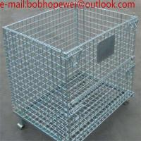 Wholesale folding wire mesh storage cage/wire mesh container folding steel storage cage/wire mesh storage container from china suppliers