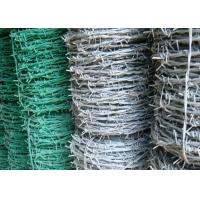Wholesale BWG 8 - 20 Green Barbed Wire , Hot Dipped Galvanized Airport Security Fence from china suppliers