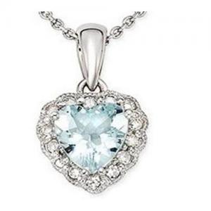 Wholesale Aquamarine & Diamond Heart Pendant from china suppliers