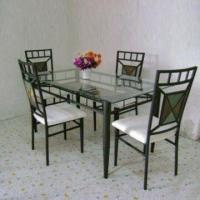 Wholesale Dining Set with Toughened Glass, Foam Cushion and Handcraft Paint from china suppliers
