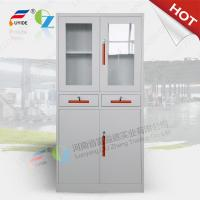 Quality KD Steel cupboard with class and steel door, swing/sliding open,white color/green handle/directly offer for sale