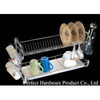 Wholesale Stainless steel kitchen wire rack 2 layer metal dish rack with cup holder PT-DR003 from china suppliers