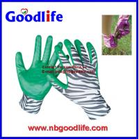 Wholesale 13Gauge zebra-stripe polyester shell coated nitrile gloves from china suppliers