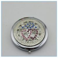 Wholesale wholesale round shape rhinestone travel metal pocket mirrors from china suppliers