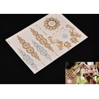 Quality Customized Metallic Gold Foil Temporary Fake Tattoo Stickers Environment Friendly for sale