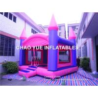 Wholesale Pink Inflatable Bouncy Castle 0.55mm 18 Oz PLATO PVC Tarpaulin With CE/UL Blower from china suppliers