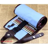 Wholesale New Blue 38 Hole Pencil Bag School Canvas Painting Stationery Roll Pencil Case Sketch from china suppliers