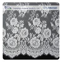 Quality Chantily Nylon Lace Fabric For Wedding Dresses , Scalloped Floral Lace Fabric for sale