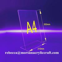 Wholesale L shape 3mm transparent acrylic A4 stand for brochure holders from china suppliers