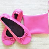 Roll Up Ballet Flats for Bridesmaids Gifts Womens Pink Ballet Shoes
