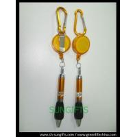 Wholesale Plastic translucent badge reel with belt clip, carabiner and ball pen from china suppliers