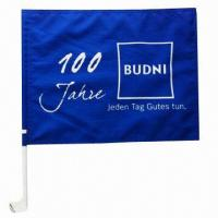 Wholesale Promotion Car Flag with 44cm Car Pole, Made of 100% Polyester, Any Designs Printing from china suppliers