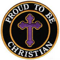 Wholesale Proud To Be Christian Embroidered Patch Iron-On Jesus Religious Biker Cross from china suppliers