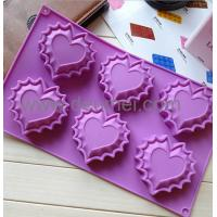 Wholesale 100% Food Grade Beautiful Heart Shaped Silicone Baking Cake Mold/6Cavities Cake Mould from china suppliers