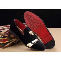 Quality Men'S Velvet Loafer Shoes With Personality Tiger Head Gold Buckle Red Bottom Shoes for sale