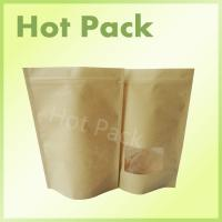 Wholesale Brown Kraft Paper Stand Up Pouch With Clear Plastic Window For Food from china suppliers