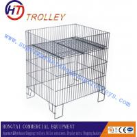 Wholesale Screen Printing​ Logo Metal Wire Dump Bin With One Adjustable Bottom Shelf For Display from china suppliers