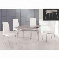 Wholesale Dining Table with 12mm Top, Creamy Color Painting and Chrome Finish Leg from china suppliers
