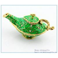 Wholesale Green Genie Lamp Pewter Trinket Box Free Shipping SCJ950 from china suppliers