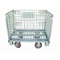 Wholesale Zinc Finish Rigid Rolling Wire Mesh Cage With Foot Brakes / Castors from china suppliers