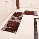 Black monsutera leaf style washable Microfiber mats for home dinning room