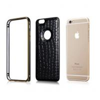 Quality Crocodile Leather Back Case Metal Bumper Frame Cover For Apple iphone 6 6 Plus for sale