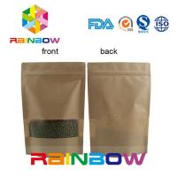 Wholesale Flat Bottom Brown Customized Paper Bags / Craft Paper Bag With Zipper from china suppliers