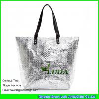 Wholesale LUDA metallic beach straw shopping bag balck leather designer beach totes from china suppliers