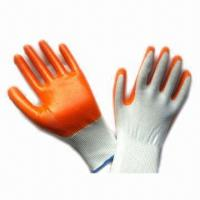 Wholesale White Yarn Yellow Gloves, Made of Nitrile  from china suppliers