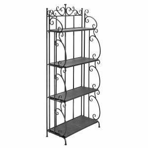Folding Black Metal Display Shelf / 4 Tier Storage Organizer Solid Structure