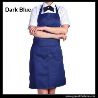 Wholesale Fashion popular advertising good polyester bib apron with dark blue color against dirty from china suppliers