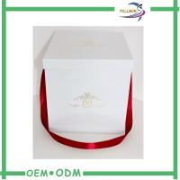 Wholesale White Square Hat Flower Gift Boxes With Ribbon Handle / Custom Logo Printing from china suppliers