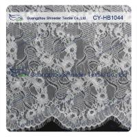 Wholesale Big Bridal Eyelash Chantilly Lace Trim / Scalloped Lace Fabric from china suppliers