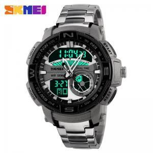 Quality Big Black Face Analog Digital Watch / Sports Wrist Watch Daily Alarm for sale