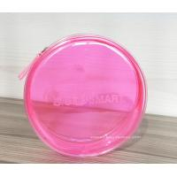 Round Pink Clear Plastic Toiletry Bags For Women Heat-Sealed Welded for sale