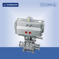 Wholesale Aluminum pneumatic 3 piece Sanitary Ball Valve with ss304 / 316L from china suppliers
